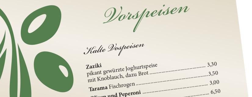 Speisekarten-Design für Restaurant