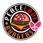 Amerikanisches Burger Restaurant Logo Peace Love