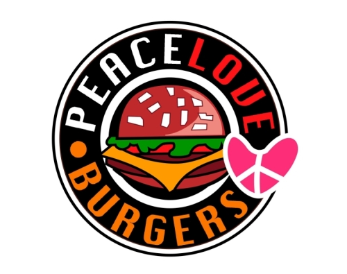 Amerikanisches Burger Restaurant Logo Peace Love