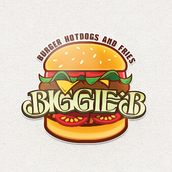 Burger Logo Design Biggie B Restaurant