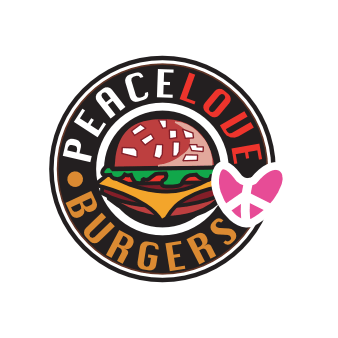 Burger Restaurant Logo Peace Love