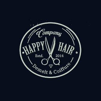 Logo-Design mit Schere Happy Hair