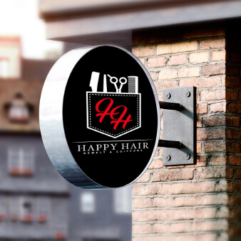 Logo-Design mit Schere Initialen Happy Hair