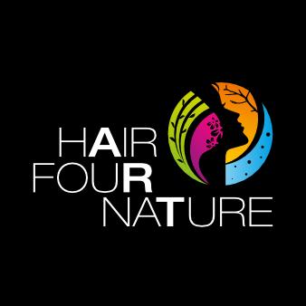 Schwungvolles Friseur Logo Hair Four Nature