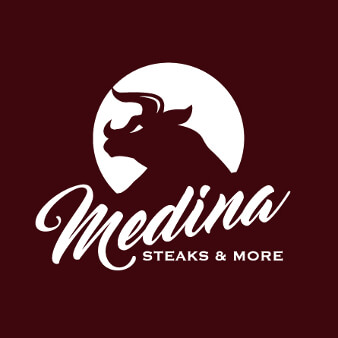 steakhouse logo design medina steaks & more