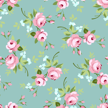Seamless floral pattern with little pink roses, vector illustration in vintage style on green fonts