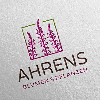 Gartenbau Landschaftsbau Logo Design Ahrens Blumen und Pflanzen 675399