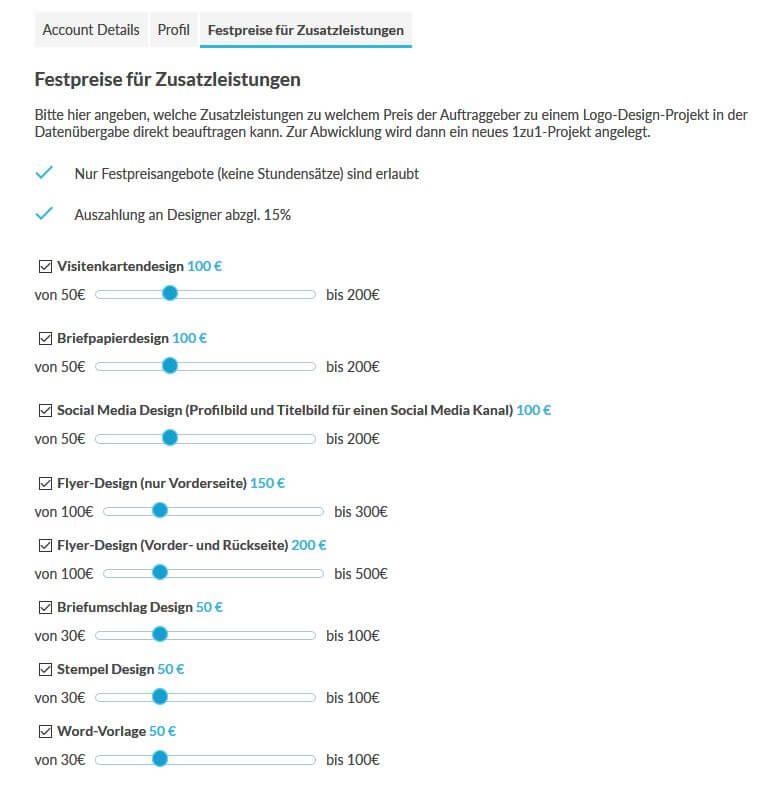 Screenshot Designer Zusatzleistungen