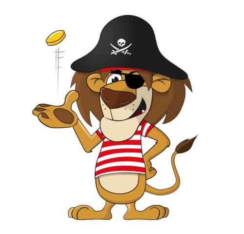 Löwe Piraten Maskottchen Design