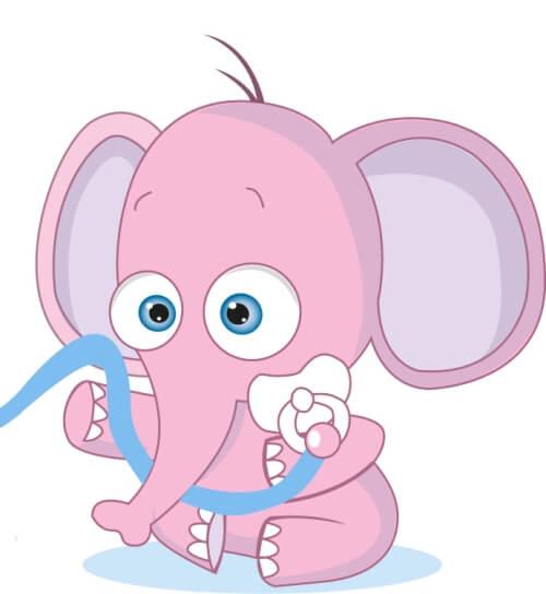 Maskottchen Design Elefant Schnuller