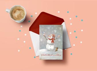 design weihnachtskarte schneemann
