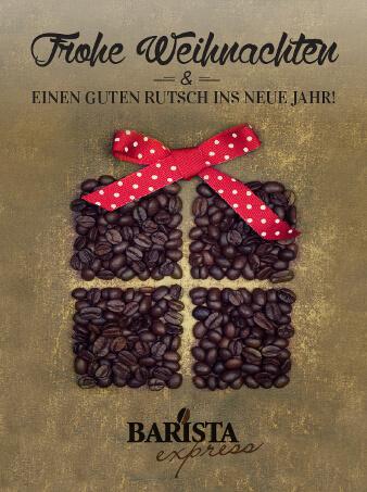 weihnachtskarten design Geschenk barista