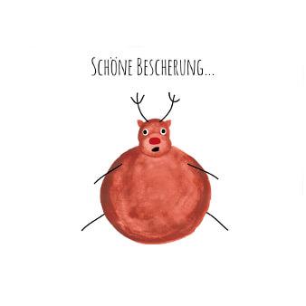 weihnachtskarten design illustriert Elch