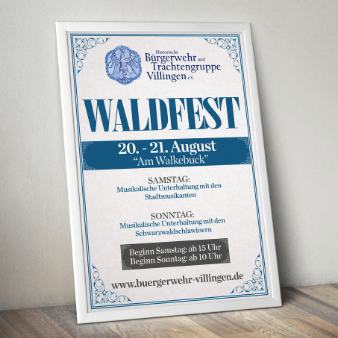 waldfest plakat design flyer blau