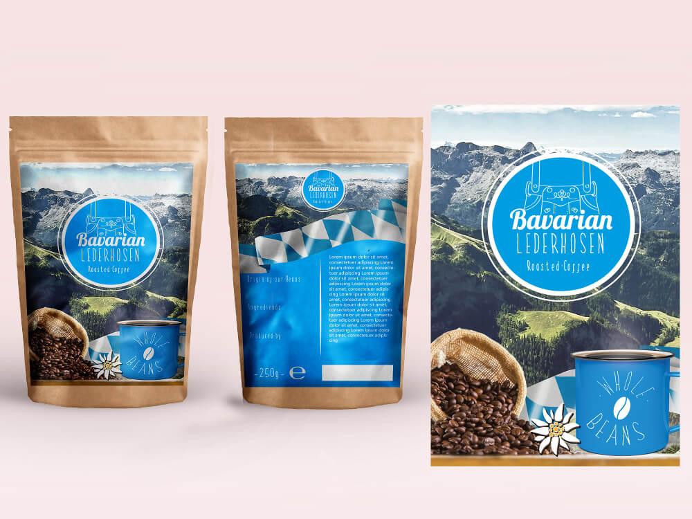 Bavarian Lederhosen Coffee Kaffee Logo Design