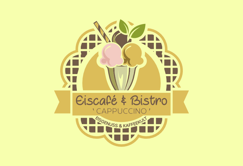 eiscafé bistro logo design cappuccino