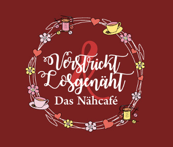 nähcafe logo design verstrickt und losgenäht