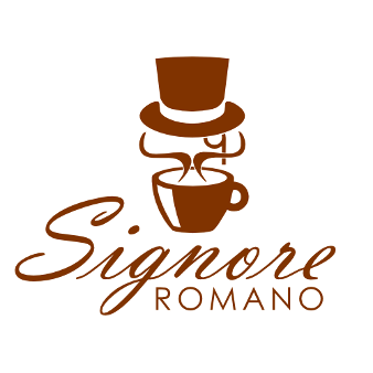 signore romano coffee logo design