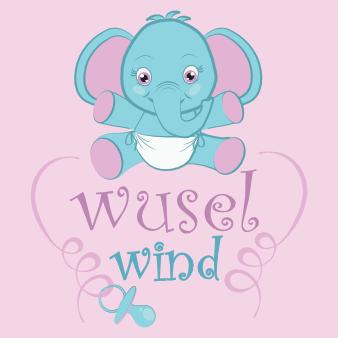 elefant logo design bunt maskottchen wuselwind schnuller niedlich