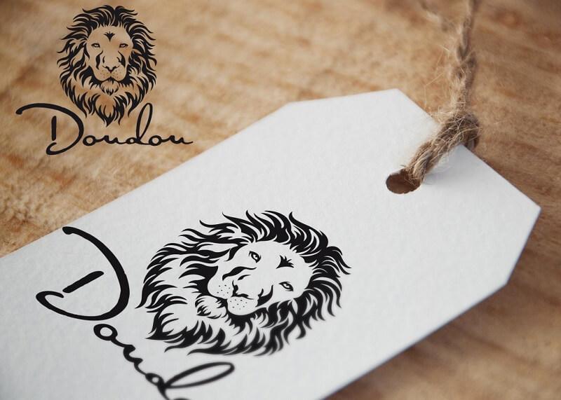 löwe design logo simple schwarz weiß kopf