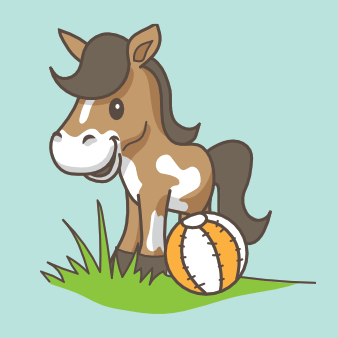 pferd logo design niedlich tier comic