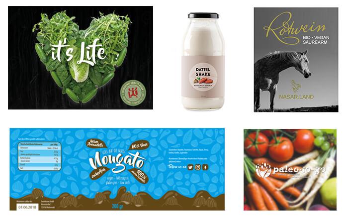 veganes Verpackungsdesign vegetarische Logos