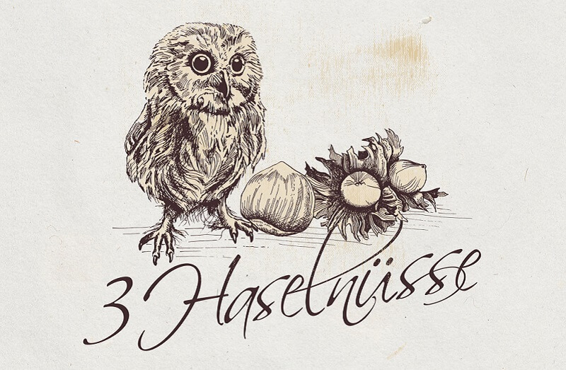 vogel logo eule design haselnüsse vintage zeichnung