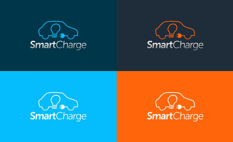 SmartCharge Auto Logo Design Elektrofahrzeug E-Car