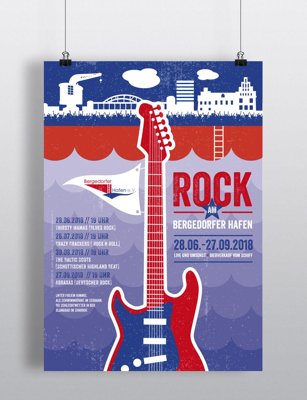 Plakat Design Tipps Rock im Bergedorfer Hafen