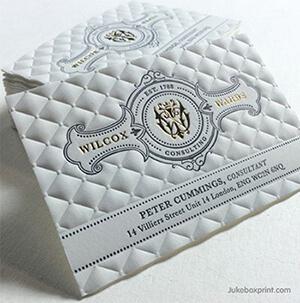 Druckveredelung Visitenkarten Design Letterpress