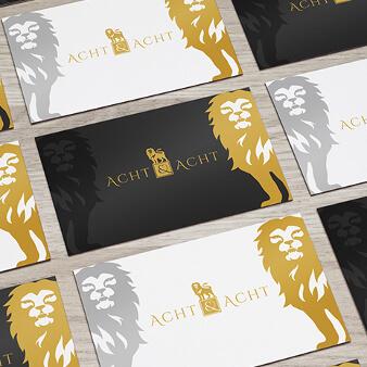 Acht & Acht gold Logo Design