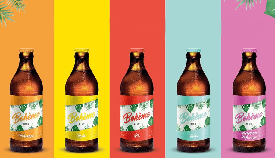 Bierflasche Etikett Verpackungsdesign Boheme