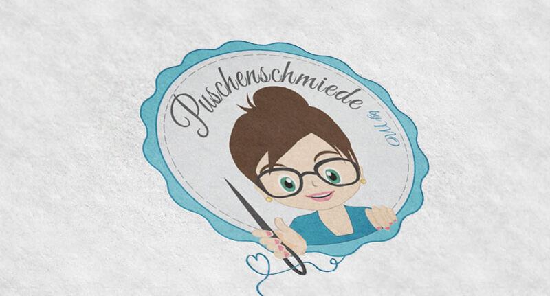 Logo Design Blau Kreative Bildmarke Puschenschmiede 229791
