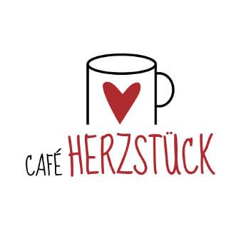Logo Design rot Café Herzstück