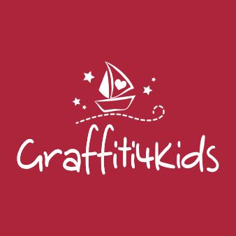 Rotes Logo Design Graffiti4Kids verspielt
