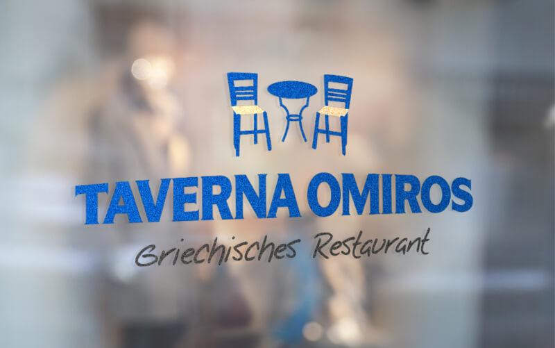 Taverna Omiros Logo Design Blau 596197