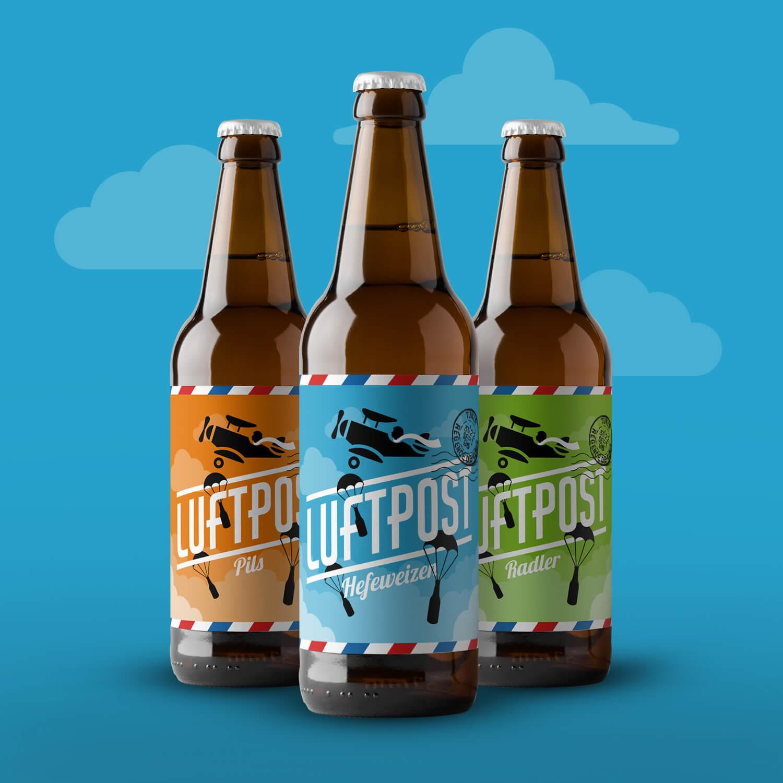 Verpackungsdesign Bierflasche Luftpost