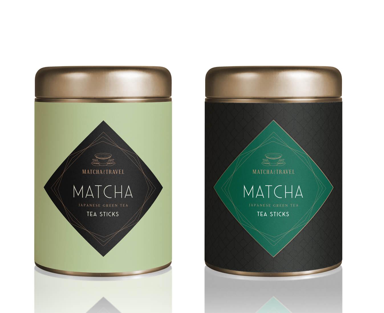 Verpackungsdesign Dose Matcha edel Matcha2Travel