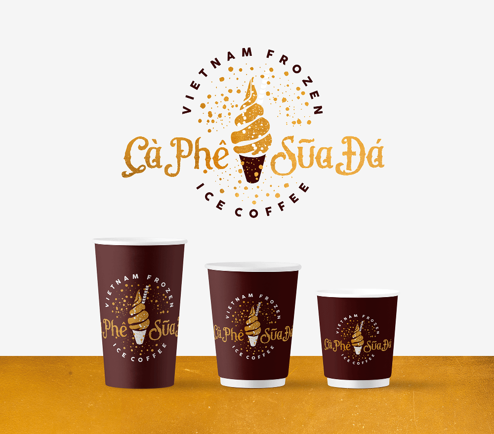 gold Logo Ca Phe Sua Da vietnamesisches Essen