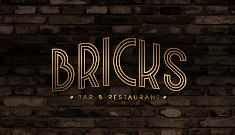 goldenes Logo Wortmarke Bricks Restaurant