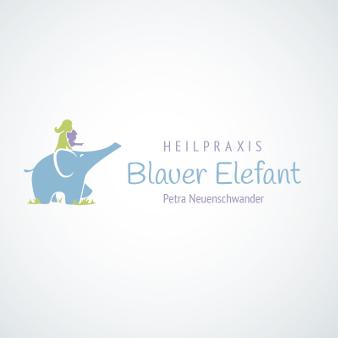heilpraxis logo blauer elefant petra neuenschwander