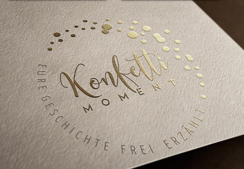 logo gold zart konfettimoment