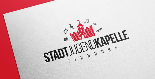 rotes Logo Design Stadtjugendkapelle Zirndorf