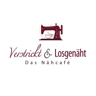 rotes Logo Nähmaschine Verstrickt und Losgenäht Nähcafé