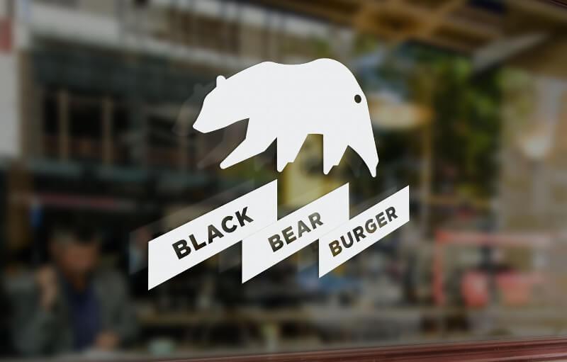 138695 Black Bear Burger Schwarz Weiß Logo