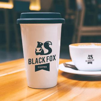 Black Fox Coffee 494221 Flat Schwarz Und Weiß Logo Design