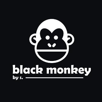 Black Monkey 136865 Schwarz Und Weiß Flat Logo Design