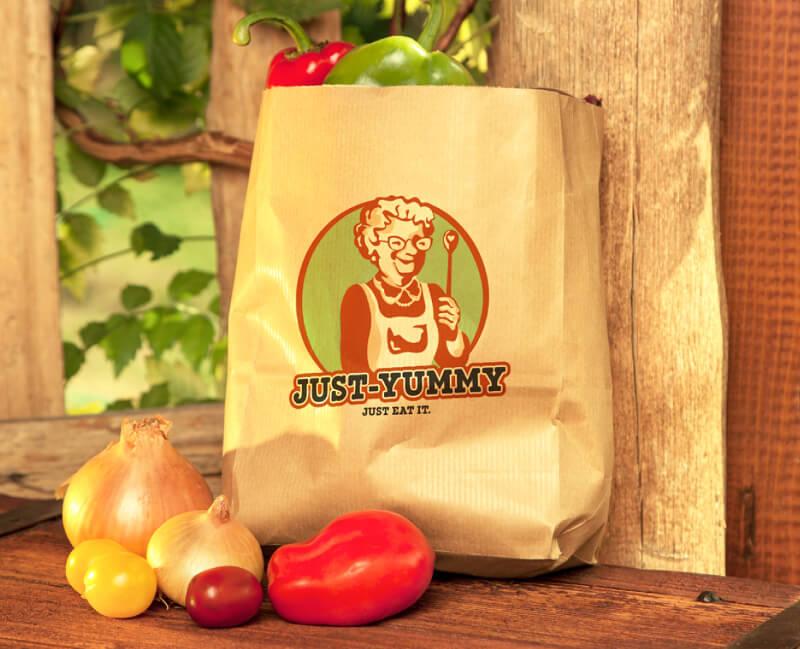Grüne Logos Illustration Maskottchen Yust Yummy