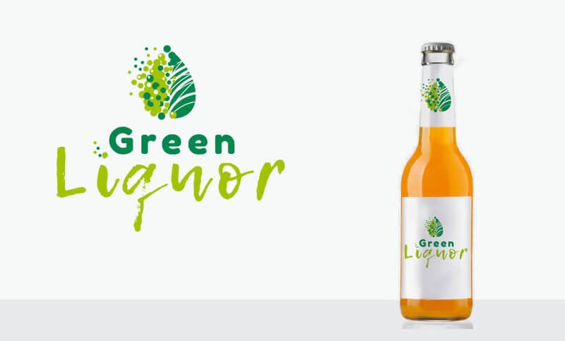Grünes Logo Illustriert Schnaps Likör Green Liquor