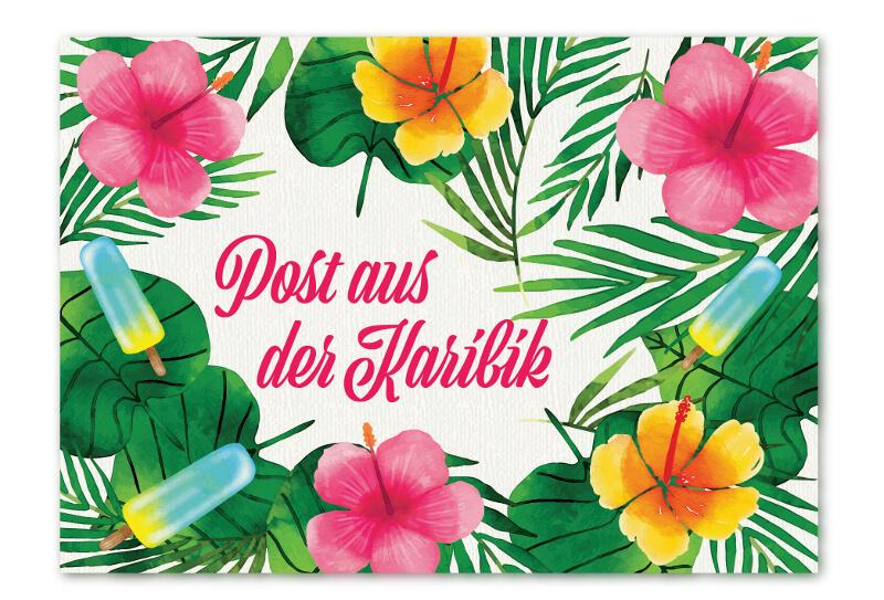 Post aus der Karibik Einladungskarte grün